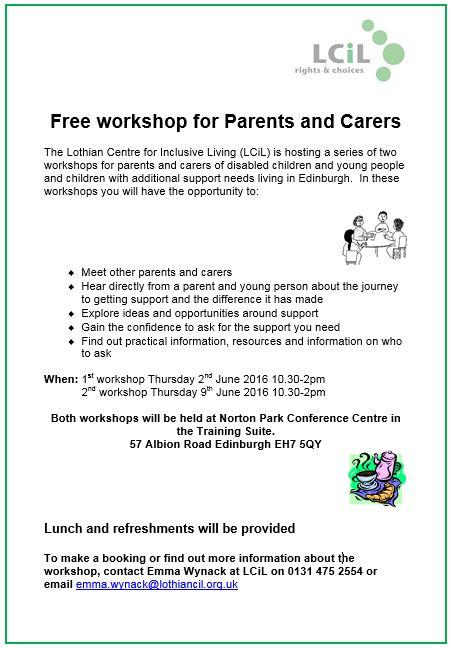 Flyer-Parents and Carers Workshop